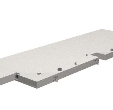 Detta betongbjälklag levereras färdigt med ingjutet avlopp, ventilation och uttag för balkonginfäste